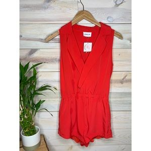 Bright Red Romper with Pockets